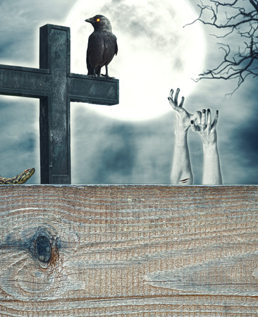 Halloween mystical spooky background with cross and wooden frame