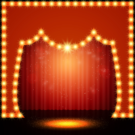 Empty retro stage with red curtain. Vector illustration Illustration