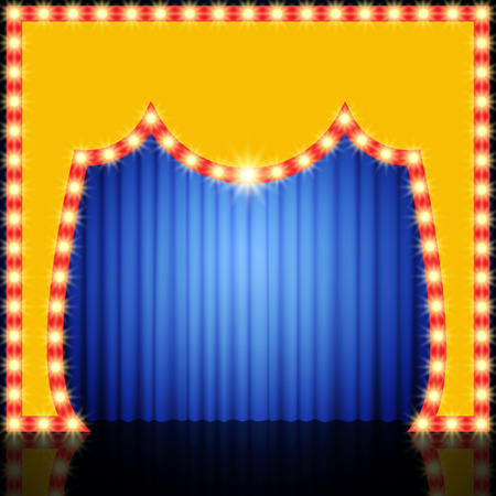 blue curtain: Empty retro stage with blue curtain. Vector illustration Illustration