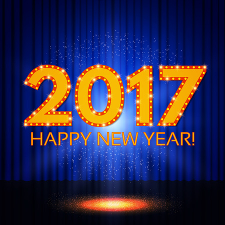 Happy New 2017 Year on blue curtain. Vector illustration