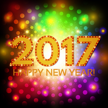 12: Happy New 2017 Year season background. Vector illustration