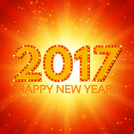 glisten: Happy New 2017 Year season background. Vector illustration
