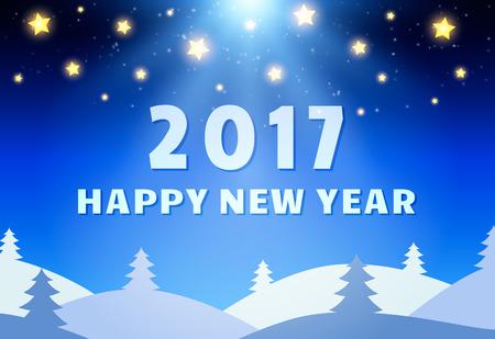 coniferous forest: Plantilla de Diseño Feliz Año Nuevo 2017 con el brillo del cielo, la Luna y Bosque de Coníferas. ilustración vectorial Vectores