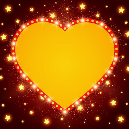 Shining background with retro heart light banner. Vector illustration
