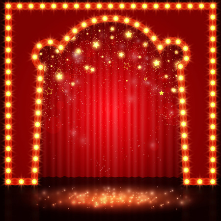 comedy show: Empty retro stage with red curtain. Vector illustration Illustration