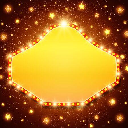 Resumen luz brillante retro banner. Ilustración vectorial