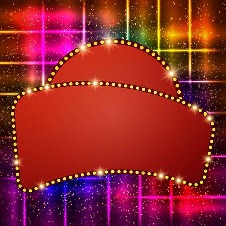 Shining background with retro casino light banner. Vector illustration