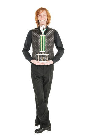 Young redhead man in costume for irish dance isolated on white