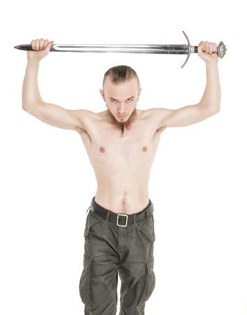 militaire sexy: Beau jeune homme avec l'épée isolé sur blanc Banque d'images