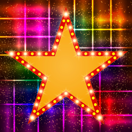 hollywood star: Star retro light banner on shining background. Vector illustration Illustration