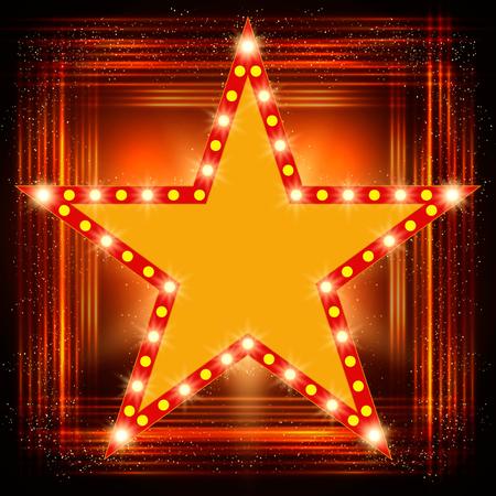 Star retro light banner on shining background. Vector illustration Illustration