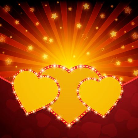 shiny hearts: Romantic valentine day shiny card with hearts. Vector illustration