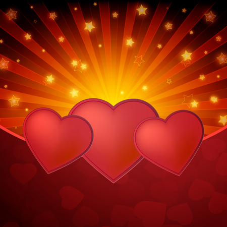 shiny hearts: Romantic valentine day shiny card with red hearts. Vector illustration Illustration