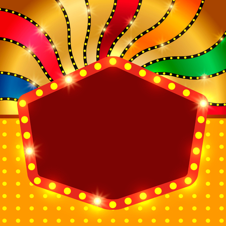 Retro banner on colorful shining background. Vector illustration