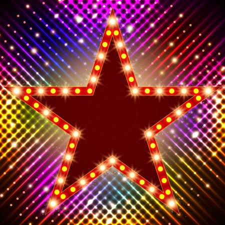 Star retro light banner on shining. Vector illustration Illustration