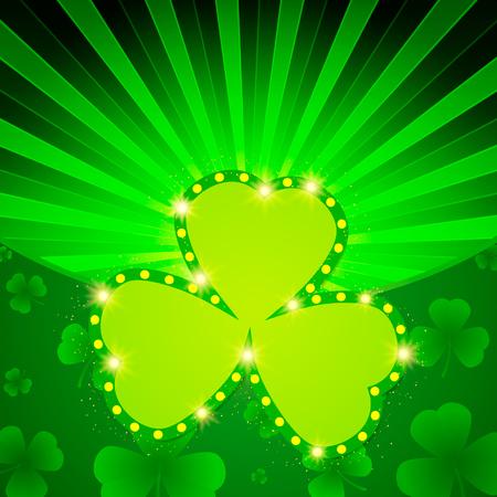 Happy St.Patricks Day with shining Shamrock Background. Illustration