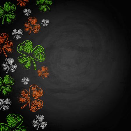 Saint Patricks Day Shamrock on chalkboard background. Vector illustration