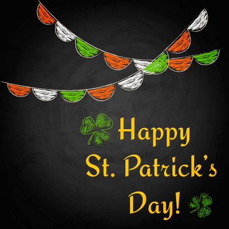 Happy St.Patricks Day on chalkboard background. Vector illustration
