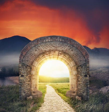 Mysterious gate dreamy sunny entrance.  New life or beginning concept