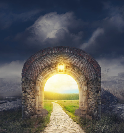 Mysterious gate entrance in dreams.  New life or beginning concept Stock Photo