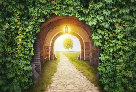 Entrée de la porte mystérieuse au paradis. Nouvelle vie ou concept de départ
