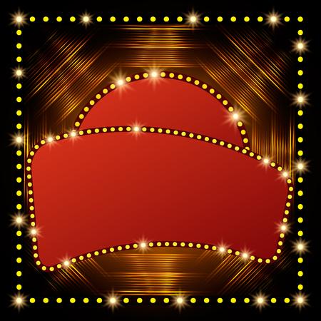 Abstract shining retro light banner. Vector illustration