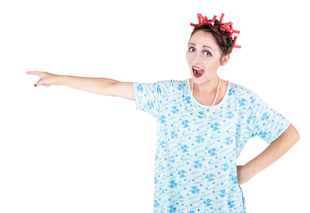 expressive face: Funny stereotypical housewife showing on something isolated