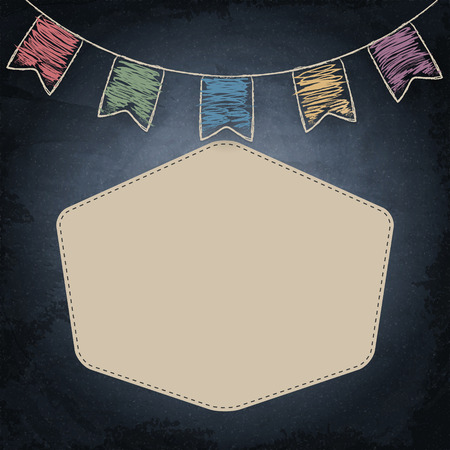 scratch board: Chalkboard background with drawing bunting decor and empty banner. Vector illustration Illustration