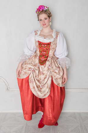 rococo: Beautiful woman in old-fashioned historic medieval dress
