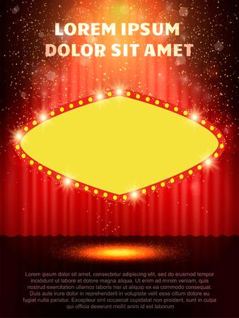 poster template with retro casino banner design for presentation