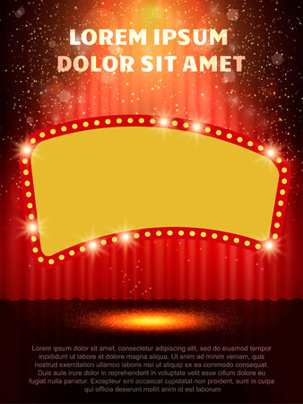 Poster Template with retro casino banner.  Design for presentation, concert, show. Vector illustration Ilustracja