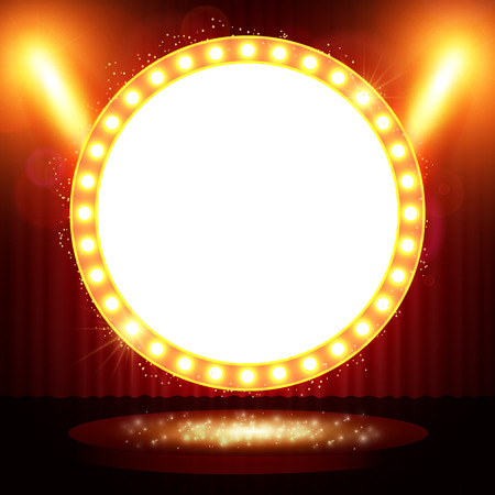 reflection in mirror: Retro banner on stage with spotlight effect background. Vector illustration