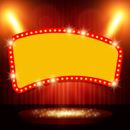 reflection in mirror: Retro banner on stage with spotlight effect background vector illustration