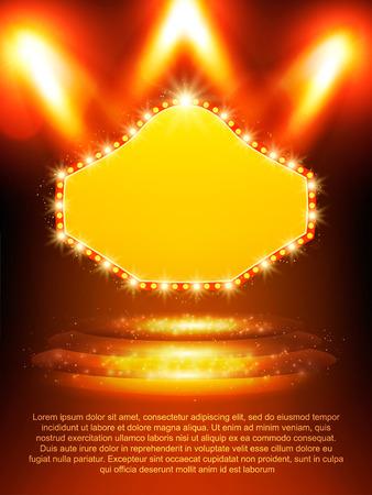 Poster Template banner with podium and spotlights.  Design for presentation, banner, concert, show. Vector illustration Illustration