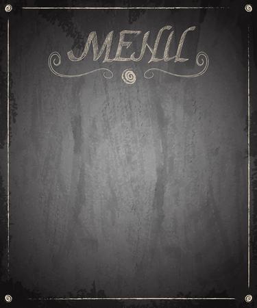 Menu of restaurant on scratch grunge texture background. Vector illustration Çizim