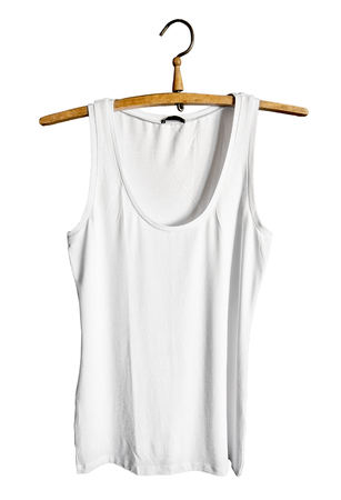 hangers: White tank top isolated on white background. Mock-up design template