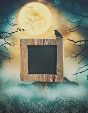 Wooden sign in dark landscape with spooky cloudy moon. Halloween design