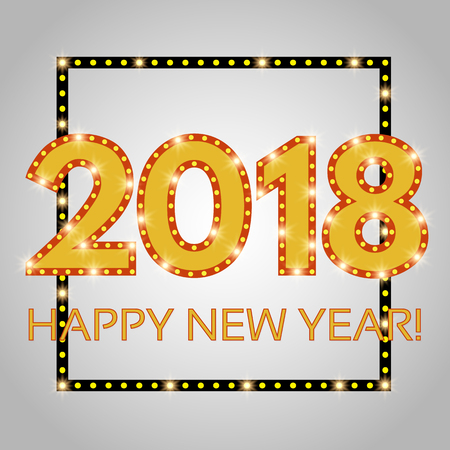 Happy New 2018 Year season banner Illustration
