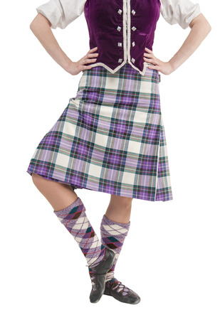 highlander: Mujer escocesa en traje nacional tradicional aislado Foto de archivo
