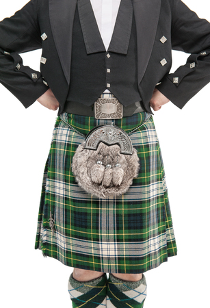 Man torso in traditional Scottish costume isolated Stock Photo