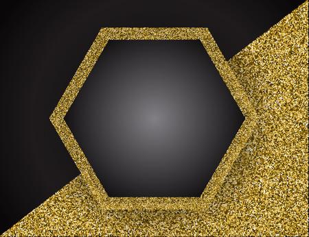 Gold shining frame. Vector illustration. Template for business greeting offer banner.