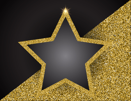 Gold shining star frame Vector illustration. Template for business greeting offer banner.