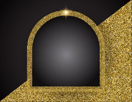 Gold shining frame Vector illustration. Template for business greeting offer banner.
