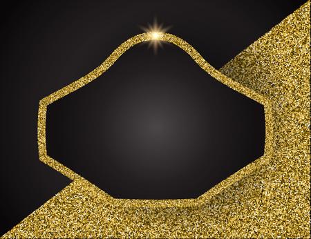 Template for business greeting offer banner. Gold shining frame. Vector illustration