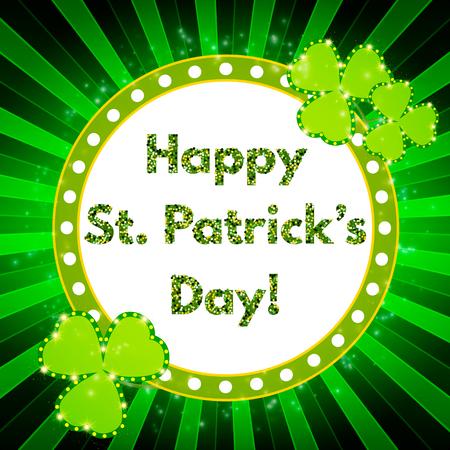 Saint Patricks Day banner with shining Shamrock. Vector illustration