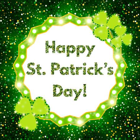 Saint Patricks Day banner with shining Shamrock.
