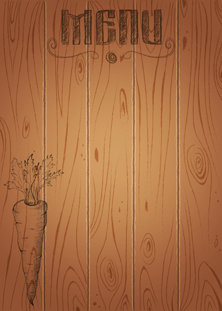 Menu of restaurant with hand drawn carrot on wooden texture background Illustration