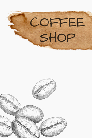 Hand drawn coffee beans and watercolor spot isolated on white. Vector illustration Illustration