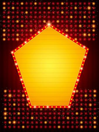 Poster Template with retro shine banner.  Design for presentation, concert, show. Vector illustration