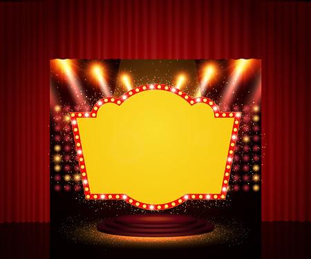 Shining retro banner on stage curtain. Vector illustration.